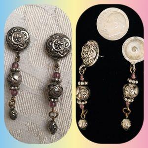 Pretty Silver Tone Boho Dangle Pierced Earrings
